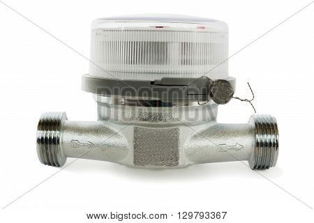Water meter for domestic water on a white background