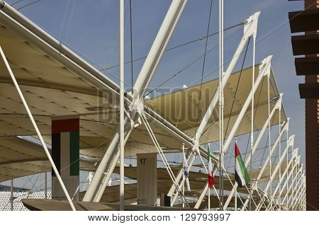 MILAN, ITALY - JUNE 29 2015: Structure close up of Decumano roofing promenade of Universal exhibition held in Milan from May to October 2015