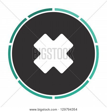 rejected Simple flat white vector pictogram on black circle. Illustration icon