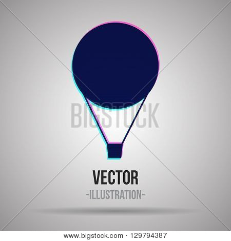 Air balloon stylized logo. Blue and violet silhouette. Vector Illustration.