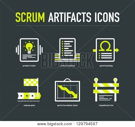 Scrum artifacts icons in white-lime colours on the dark grey background