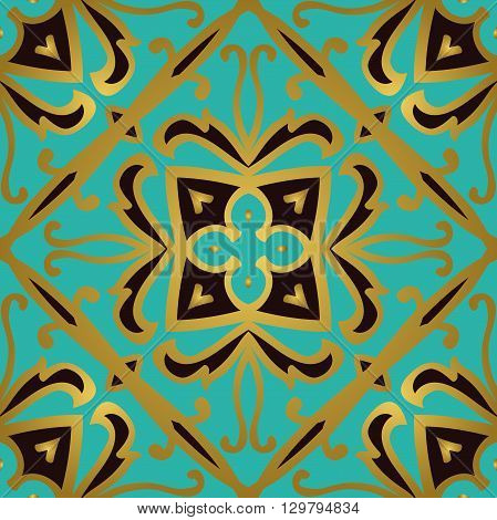 Oriental abstract ornament. Templates for carpet textile wallpaper tile mosaic. Seamless vector pattern of gold contour on a turquoise background.