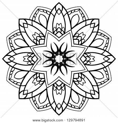 Vector floral mandala. Oriental stylized design element. Sketch of tattoo.