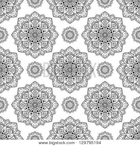 Seamless vector background. The pattern with contour mandalas. Oriental floral ornament. Template for the carpet wallpaper shawls textiles.