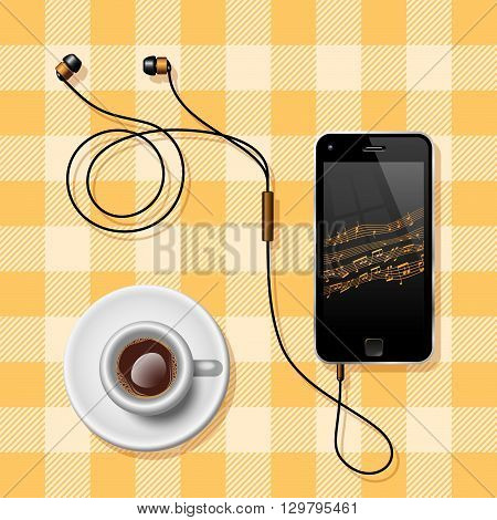 Coffee Break. Semi Realistic Vector Illustration Of A Mobile Phone With The Earphones And A Coffee Cup On A Clothed Table Representing Coffee Break.