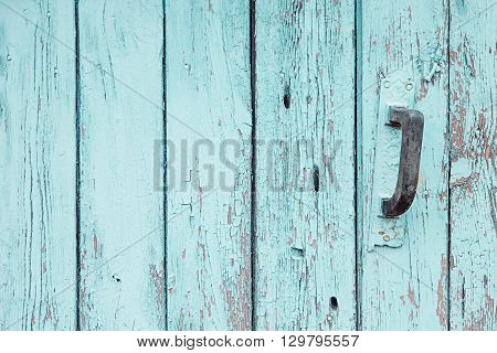 Vintage blue wooden background. Old weathered aquamarine board. Texture. Pattern. Wood background.