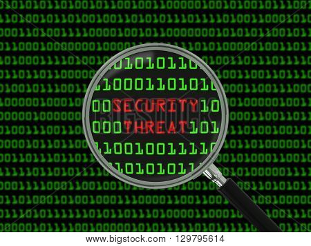 Security Threat found in Binary Code with Magnifying Glass - 3D Illustration