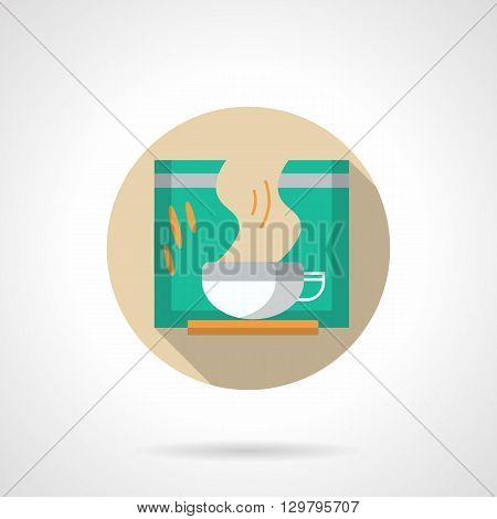 Cup with steam and green packaging. Slimming tea sign. Herbal drink for beauty and health body. Fitness diet, natural medicine. Round flat color style vector icon.
