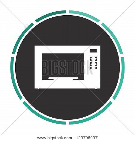 Microwave Simple flat white vector pictogram on black circle. Illustration icon