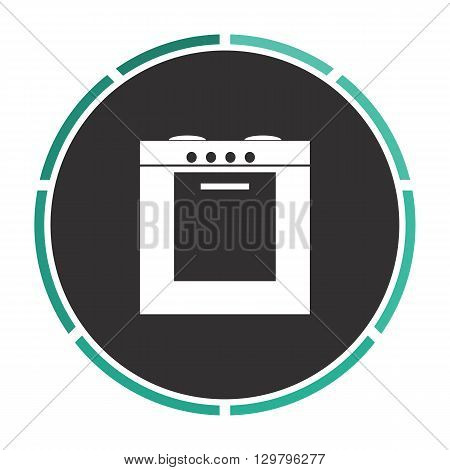 stove Simple flat white vector pictogram on black circle. Illustration icon