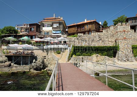 SOZOPOL BULGARIA - JULY 19 2015: Hotels and taverns in old town of Sozopol Bulgaria. Sozopol is one of popular seaside resorts in Bulgaria.