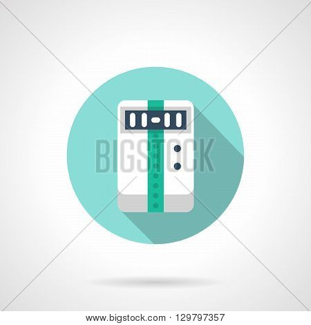 Electrical household appliances, climatic technics. Temperature control, humidity and air purity, ventilation. Round flat color style vector icon.