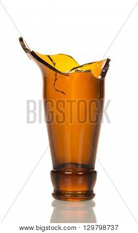 broken neck of a beer glass bottle isolated on white background.