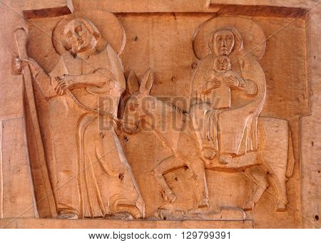 KLEINOSTHEIM, GERMANY - JUNE 08: Flight to Egypt, Saint Lawrence church in Kleinostheim, Germany on June 08, 2015.