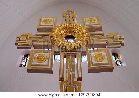 KLEINOSTHEIM, GERMANY - JUNE 08: Main altar in the Saint Lawrence church in Kleinostheim, Germany on June 08, 2015.