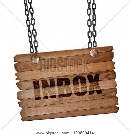 inbox, 3D rendering, wooden board on a grunge chain
