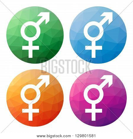 Set  Of 4 Isolated Modern Low Polygonal Buttons - Icons - For Intersex