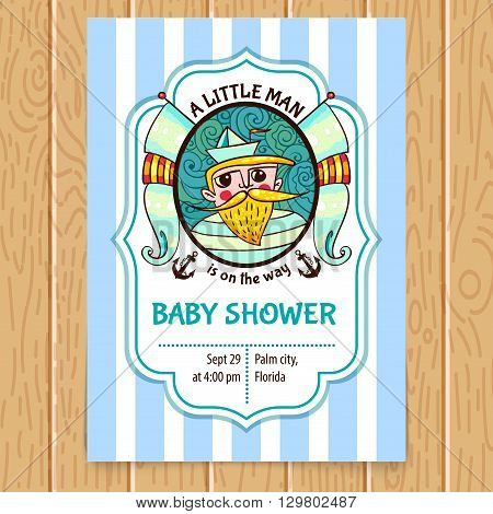 Baby Shower card with sea captain. Custom  Invitation for baby arrival. Tender supplies template.