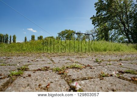 old nice cobblestones in park in Germany