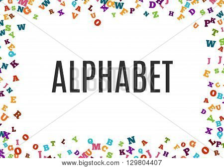 Abstract colorful alphabet ornament border isolated on white background. Vector illustration for bright education, writing, poetic design. Random letters fly around. Book concept for grammar school.