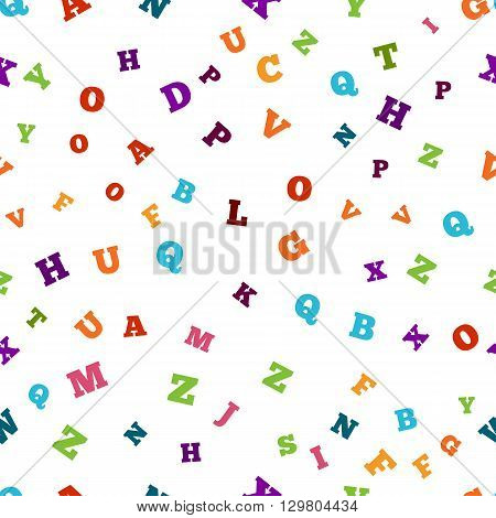 Abstract colorful alphabet seamless ornament pattern isolated on white background. Vector illustration for bright education, writing, poetic design. Random letters fly. Book concept for grammar school