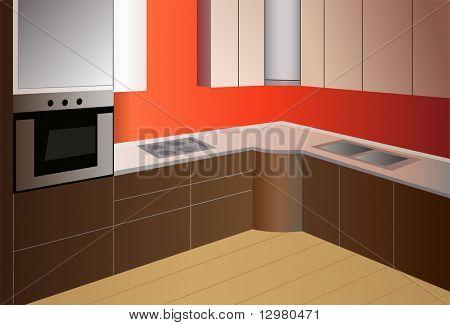 vector de cocina marrón rojo