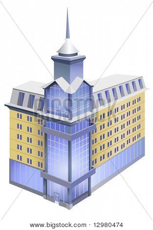 modern building with spire vector