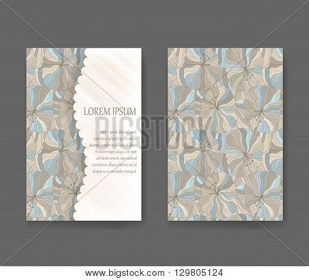 Boho style template for cards invitations banners with sample text lorem ipsum. Floral vector illustration.