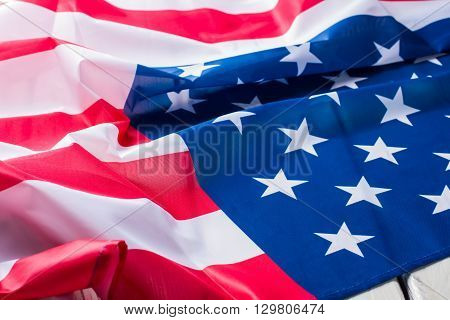 Flag of America. United States banner. Freedom and prosperity. Brighter future for every citizen.