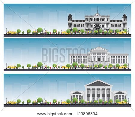 Set of university study banners. Students go to the gray building. University with blue sky and green tree. Banner with copy space.