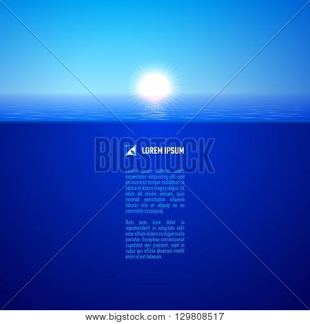 Cool sunshine over calm blue water surface split view