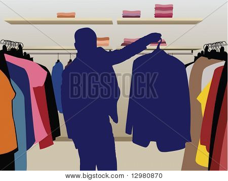 Man pak silhouet in shop vector