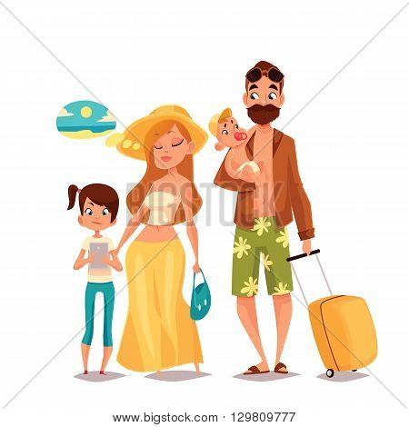 Family on vacation, cartoon comic illustration of four people on a white background, traveling and vacationing family with luggage and children, four people, a man with a beard hipster