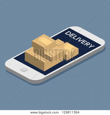 Online delivery. A concept for fast delivery service. Package box on smartphone screen. Isometric illustration vector.