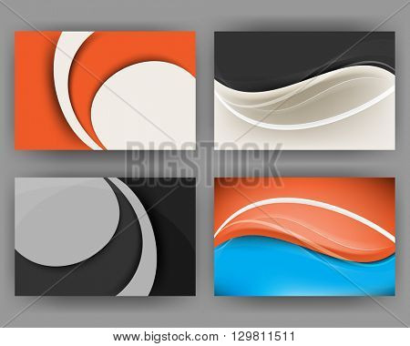 set of four designs, waving lines card concept background material illustration. eps10 vector