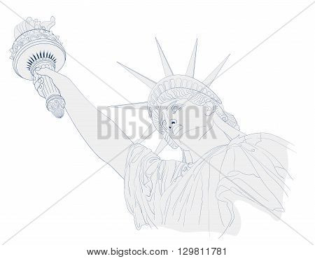 Scribble art design for fourth of July Independence Day USA with symbol of America: Statue of Liberty with ink and shadow effects. Patriotic series, main celebration of USA. Artistic painting