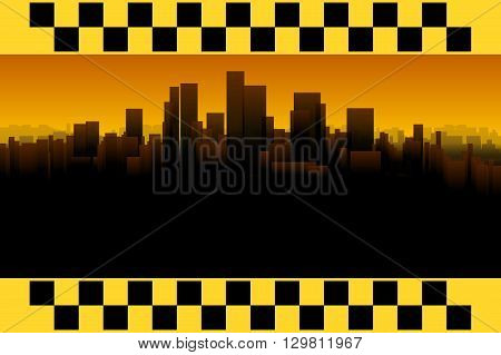 illustration of taxi banner with silhouette of big city on background