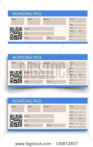 illustration of boarding pass with two types shadow on white background