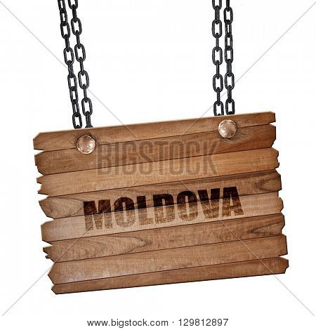 Greetings from moldova, 3D rendering, wooden board on a grunge chain