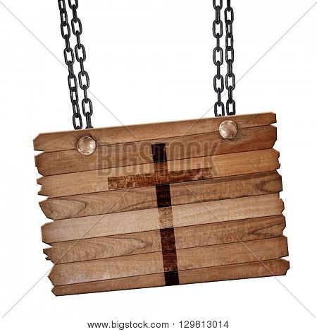 Christian cross icon, 3D rendering, wooden board on a grunge chain