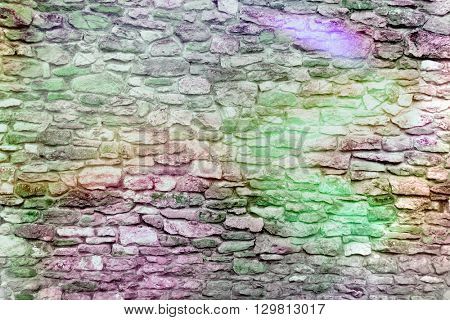 Section of house wall overlaid with colors for effect