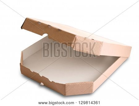Open empty pizza box isolated on white background, close up