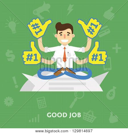 Business man in a tie enjoys a good job lift arms up and puts a virtual like flat abstract isolated vector illustration