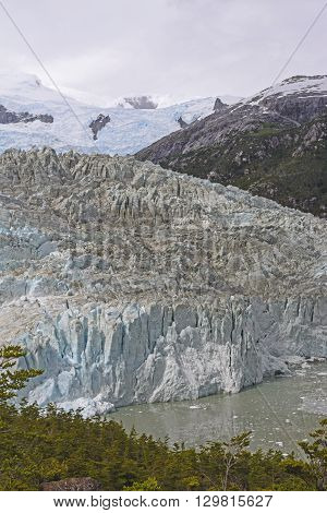 Pia Glacier Heading Down from the Mountains in Tierra del Fuego in Chile