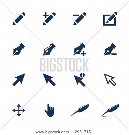 Set of different types of cursor icons in flat style