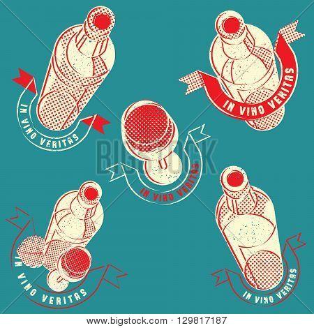 vintage retro wine glass bottle label logo stamp set
