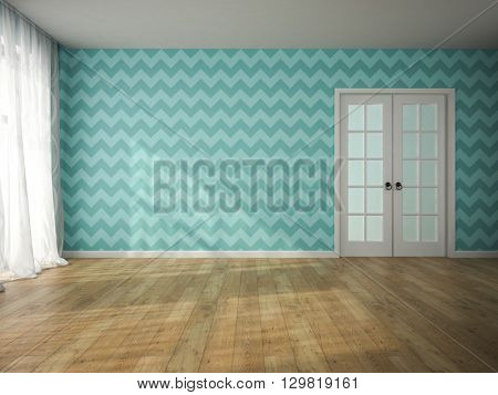 Interior of empty room with blue wallpaper and door 3D rendering