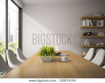 Interior of dining room with shelves 3D rendering