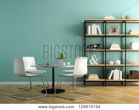 Part of interior with white chairs and shelving 3D rendering