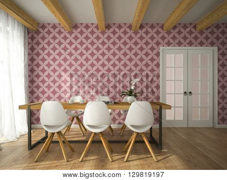 Interior of dining room with vinous wallpaper 3D rendering